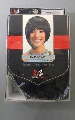 E8 Bobbi Boss Wig Britney Synthetic Short Cut Bob Black Purple Color (Bob Cut Synthetic Wig)