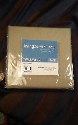 Living Quarters Twill Weave Twin Flat Sheet 100% Pima Cotton Cobblestone NIP NOS for sale  Twin Lake