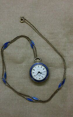 Ladies Enamel Pocket / Pendant Watch Long Necklace Chain Nadine Swiss
