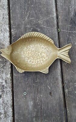 Vintage Copper Hand Engraved Fish Tray Display Jewellery Home Office Decoration