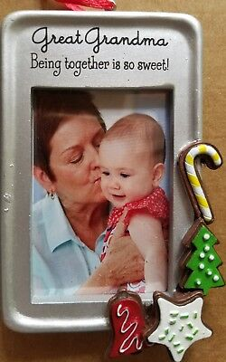 """NWT Hallmark Picture Frame GREAT~Grandma Ornament """"BEING TOGETHER IS SO SWEET!"""""""