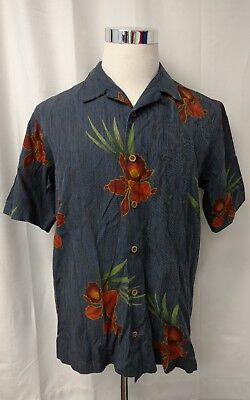 (Tommy Bahama Blue with Orange Flowers S/S Floral Hawaiin Camp Shirt S Small)