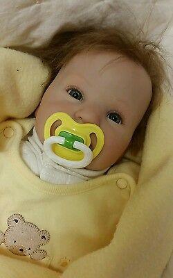 Realistic Handmade Baby Boy Doll Blonde Hair & Blue Eyes Lifelike Vinyl Reborn
