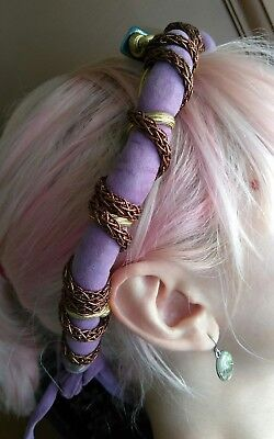 vtg 80s ? lavender suede bloomingdales headband 70s disco fashion nwt necklace?