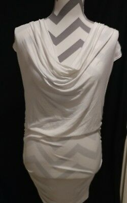 Love Culture Ivory knit top open sexy back cowl neck ruched sides summer size L Cowl Back Ruched Top