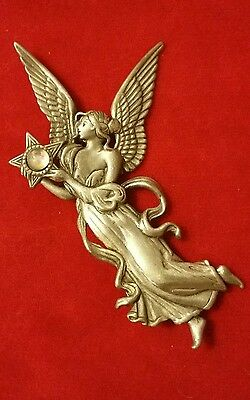 Vintage Jj Pewter Beautiful Winged Angel Holding A Moonstone Star Brooch Pin