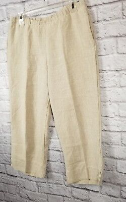 WOMENS J JILL BEIGE EASY 100% LINEN CROPPED PANTS SMALL PETITE PULL ON POCKETS ()