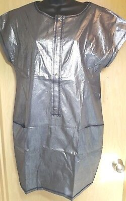 Space-age Metallic Silver Zip Front Shift Dress Go International L Party Costume - Space Age Costume