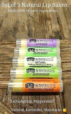 Mandarin Lip Balm -  Lemongrass, Lavender, Peppermint, Natural Mandarin Orange Lip Balms (PACK OF 5)