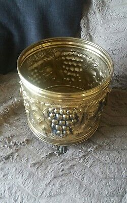 Antique English  Brass Grapes Indoor Planter Footed * Free Uk Mainland Postage