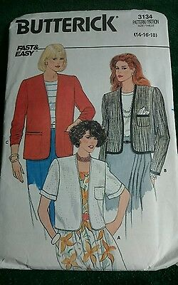 Vintage Butterick  Misses' COLLARLESS Jacket Pattern 3134 Size 14 16 18  UNCUT