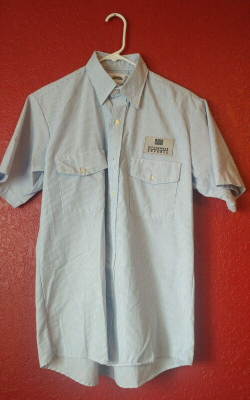 US Airways Express Airlines M Front Button Short Sleeve Shirt Blue White NWOT