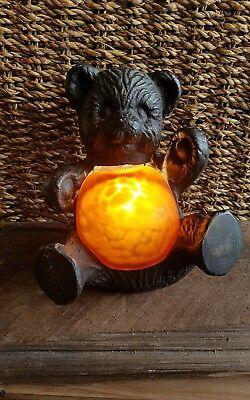 Vintage Cast Iron Metal Teddy Bear Night Light Satin Amber Glass Cheyenne Lamp
