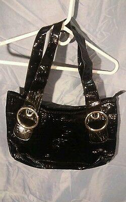 Attention Ladies Handbag Purse Black Shiny Faux Reptile Snake Skin Satchel Dr. B