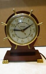 Vintage United No.330 ships wheel wooden mantel clock Serviced - running quietly