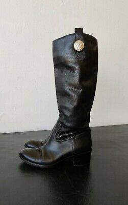 Vintage Authentic Gucci Made in Italy Black Leather Riding Boots Size 36 C