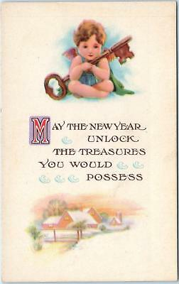 ARTS & CRAFTS STYLE New Year Greeting Postcard