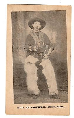 BUD BROOKFIELD BLISS OKLAHOMA*COWBOY*BE CAREFUL WHAT YOU SAY*ADVERTISING CARD