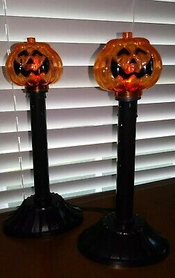 Pumpkin Blow Mold Candolier Lights Set of 2 Flicker Flame Candles Halloween JOL