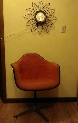 Herman Miller Vintage Original Eames Fiberglass Shell Arm Chair Orange Upholster for sale  Slippery Rock