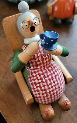 Vintage ERZGEBIRGE Smoker EARLY Carved Grandmother German Democratic Republic