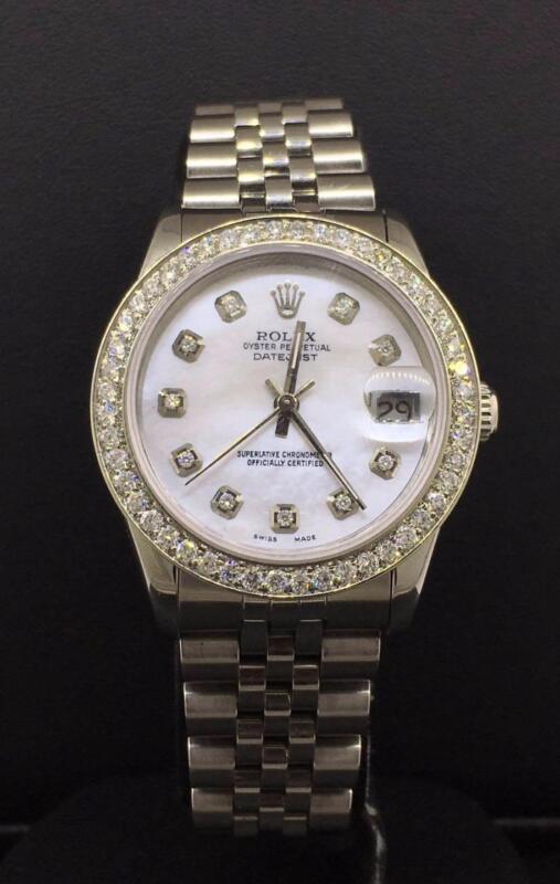 Rolex Datejust 31mm Steel Jubilee Custom Diamond Bezel & Mop Dial Ref 68240