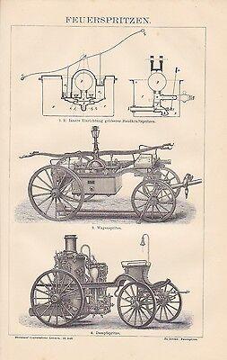Feuerspritzen Feuerwehr Wagenspritze HOLZSTICH von 1883 Dampfspritze