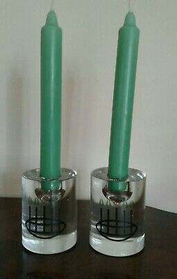 VINTAGE CHARLES RENNI MACINTOSH STYLE GLASGOW ROSE STYLE GLASS CANDLE HOLDERS