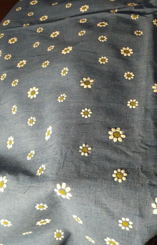 """Blue  With Raised  White Green Flowers All Over 44"""" X 48""""(1 And 1/3 Yards)"""