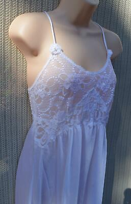 VINTAGE Christian Dior WHITE Lace BRIDAL Nightgown WOMENS SZ SMALL