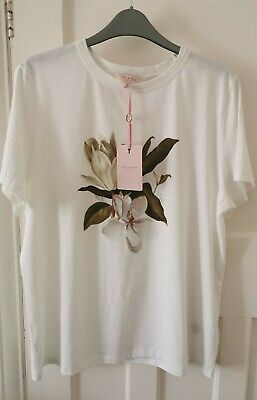 TED BAKER, White T-shirt With Flower Print, Brand New. Size 4