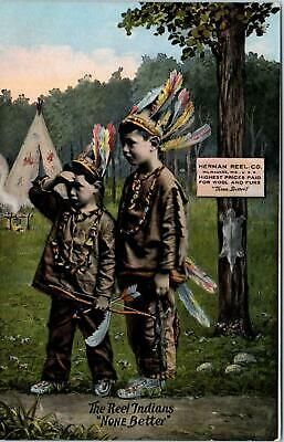 MILWAUKEE~2 KIDS in Indian Costumes REEL FUR COMPANY Advertising c1910s Postcard](Costumes Milwaukee)