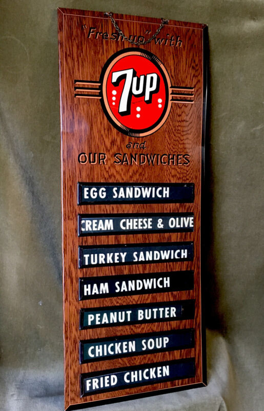 Beautiful Vintage 7up Metal Sign Menu Board 1930's
