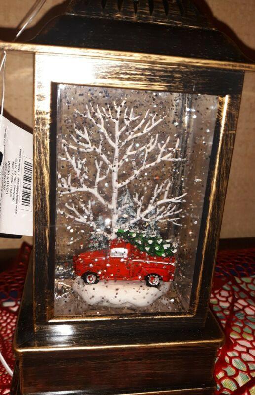 Truck🌷Red Decor RARE Light Swirling Glitter Snow Water Globe NEW Christmas