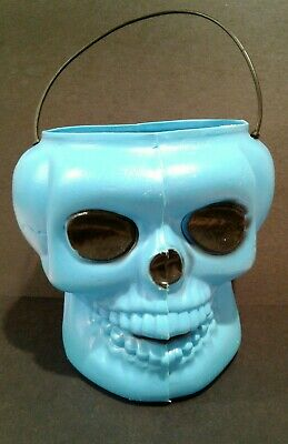 Vintage Halloween Blow Mold blue Skull Candy Bucket General Foam Plastic USA