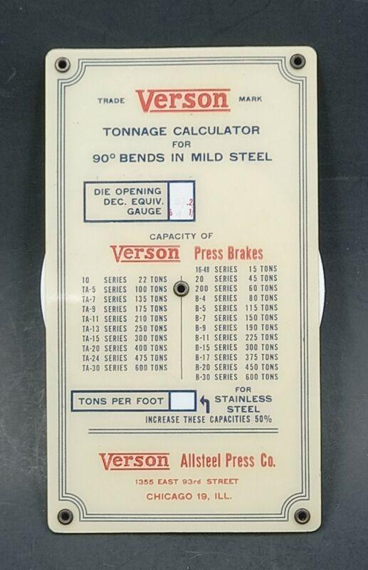 Vintage HTF  CELLULOID VERSON TONNAGE CALCULATOR FOR STEEL PRESSES