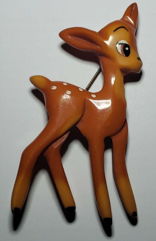 Martha Sleeper Bakelite Bambi Deer • Brooch/Pin (1 of 2)