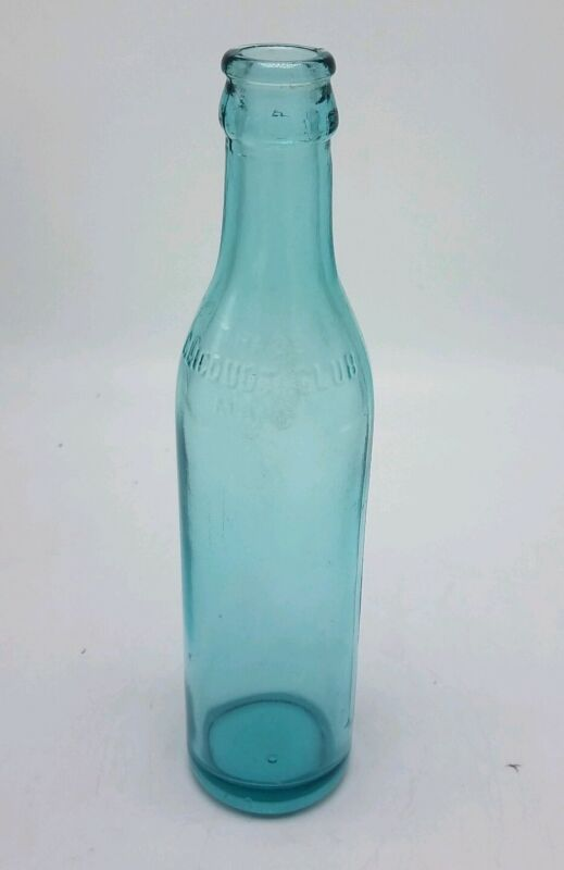 Vintage CLICQUOT CLUB Trade Mark TEAL Blue Green Glass Bubbles Embossed