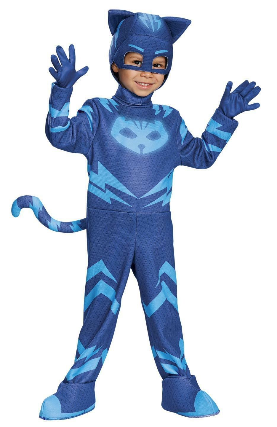 DISNEY PJ MASKS CATBOY DELUXE 4 PC GLOWS IN THE DARK COSTUME NEW DG17159