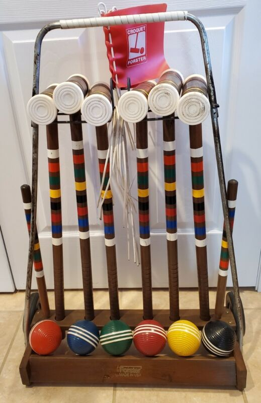 Forster Croquet Portable Wheeled Storage Cart Complete 6-Player Set