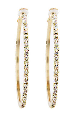 Clip On Hoop Earrings - gold plated hoops with clear crystal stones - Karina G
