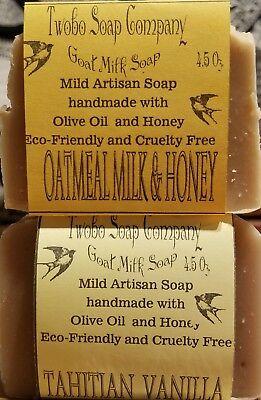 FREE SHIP Tahitian Vanilla / Oatmeal Shea Butter Goat Milk Soaps, great for skin