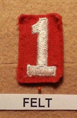 Felt Number - BSA RED FELT TROOP UNIT NUMBER 1-(GOOD CONDITION) GAUZE BACK 1927~52 FB003