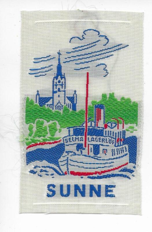 Sunne Värmland Province Sweden Vintage Woven Travel Souvenir Patch Boat Heritage