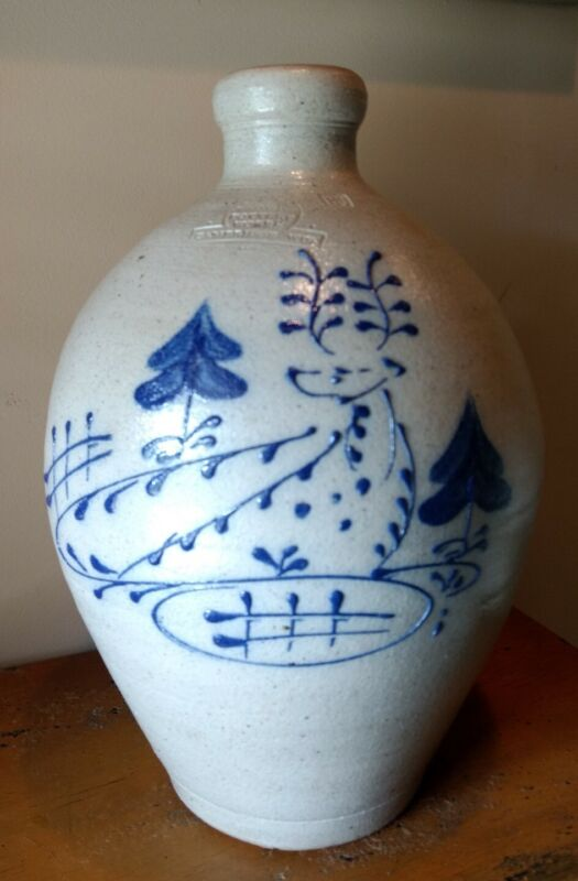 Rowe Pottery Works Salt-glazed Ovoid Jug with Deer Design.