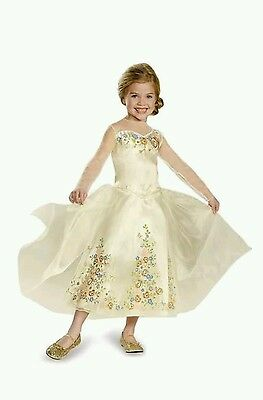 Disney Cinderella Wedding Dress Child Deluxe Halloween Costume Dress Up M(7-8)