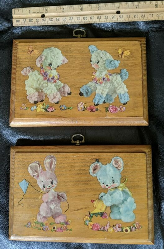 2 - Vintage Decoupage Wood Art Wall Hanging Lacquer Bunnies & Lamb, Nursery Baby