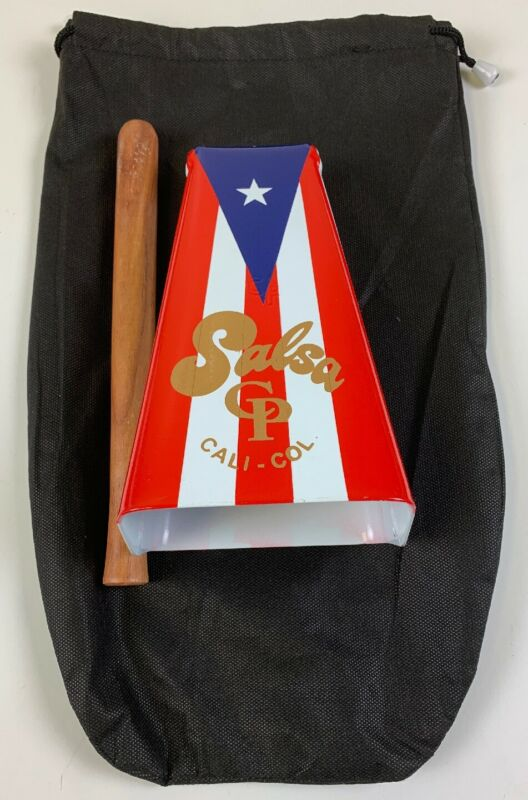 Hand Held CP#1 Salsa Cowbell with Puerto Rico Flag Design-w/Stick & Pouch.