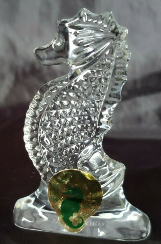 WATERFORD Glass Figurine SEAHORSE Figure w. Orig. Label & Etched Mark Waterford