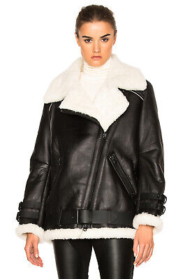 RARE $2550 ACNE STUDIOS Velocite Shearling Sheep Skin Leather Moto Jacket 36/6-8